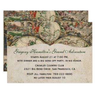 Antique Map Party Invitation
