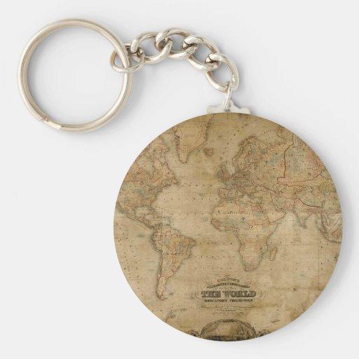 Antique Map Series Keychain