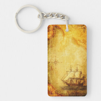 Antique Map & Ship Keychain