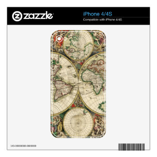 Antique Map Decal For iPhone 4
