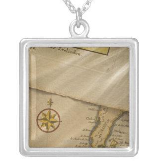 Antique map square pendant necklace