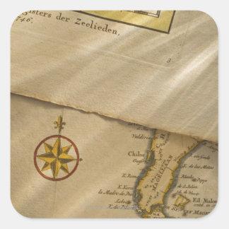 Antique map square sticker
