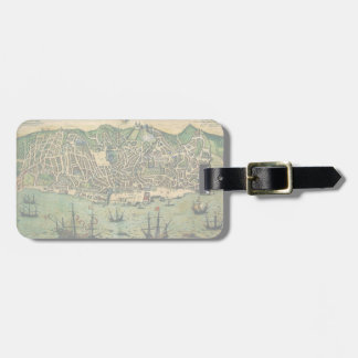 Antique Map, Town Plan of Lisbon, Portugal, 1598 Bag Tag