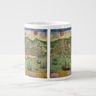 Antique Map, Town Plan of Lisbon, Portugal, 1598 Giant Coffee Mug