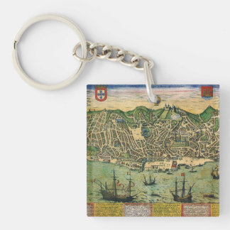 Antique Map, Town Plan of Lisbon, Portugal, 1598 Keychain