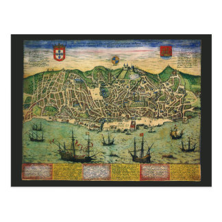 Antique Map, Town Plan of Lisbon, Portugal, 1598 Postcard