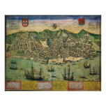 Antique Map, Town Plan of Lisbon, Portugal, 1598 Poster