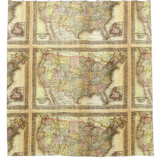 United States Map Shower Curtains Zazzle - Us map 1867