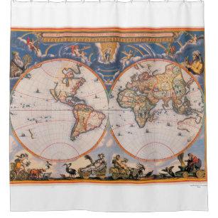 Antique Map Weltcarte Atlas Blaeuw Shower Curtain