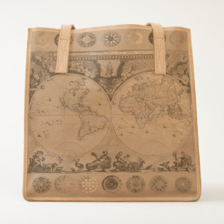Antique Map with Compass Rose Leather Tote Bag