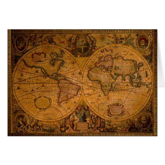 ANTIQUE MAP & World Poem Greeting Cards