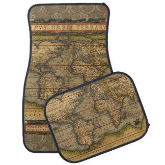 Antique Map World Travel Continents Car Mat