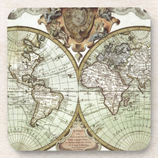 Antique Maps of the World Drink Coaster