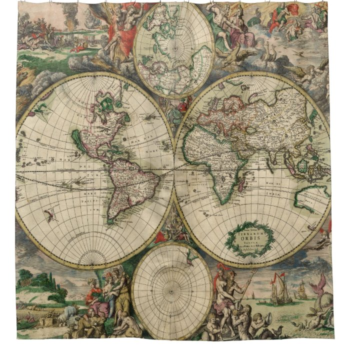 Antique maps old world vintage maps shower curtain zazzle for Old world curtains and drapes