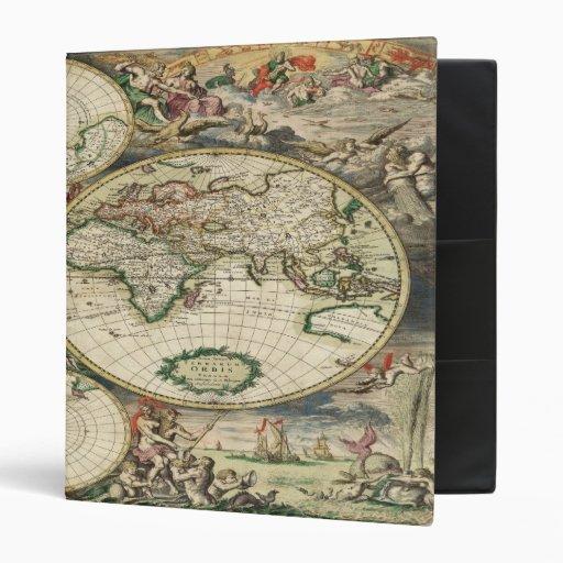 Antique Maps - World Omnisphere, by GalleryGifts Vinyl Binder