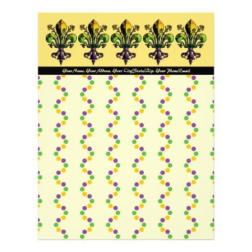 Antique Mardi Gras Fleur Customized Letterhead