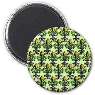Antique Mardi Gras Fleur 2 Inch Round Magnet