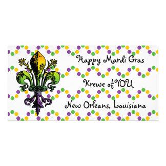 Antique Mardi Gras Fleur Custom Photo Card