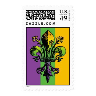 Antique Mardi Gras Fleur Postage Stamps