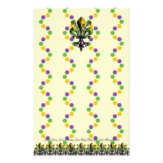 Antique Mardi Gras Fleur Personalized Stationery