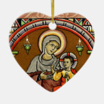 Antique Mary and Jesus Print Christmas Decoration Double-Sided Heart Ceramic Christmas Ornament