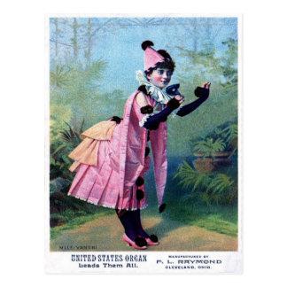 Antique Masquerade Girl Postcard