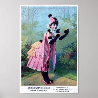 Antique Masquerade Girl Poster