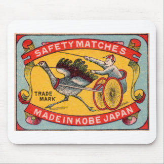 Antique Matchbox Label Ostrich Harness Racing Kobe Mouse Pad