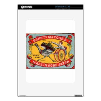 Antique Matchbox Label Ostrich Harness Racing Kobe Skin For iPad