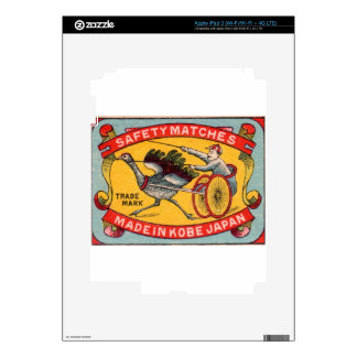 Antique Matchbox Label Ostrich Harness Racing Kobe Skins For iPad 3