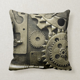 Antique Mechanical Gears Manly Throw Pillow