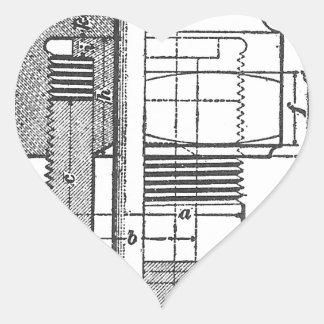 Antique Mechanical Tool Engineer Heart Sticker