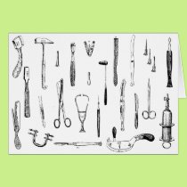 antique medical instruments greeting card