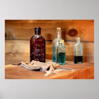 Antique medicine bottles photo poster
