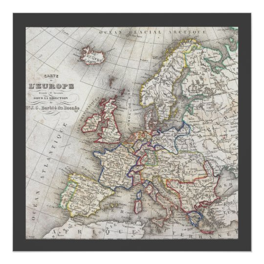Antique medieval historical retro World Map Poster