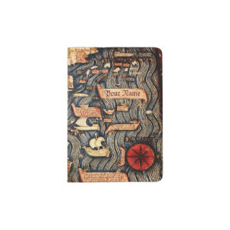 Antique Medieval Map Personalized Passport Holder