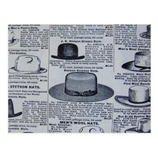 Antique Mens Hats Postcard