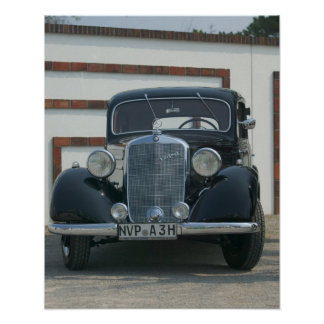 antique mercedes poster
