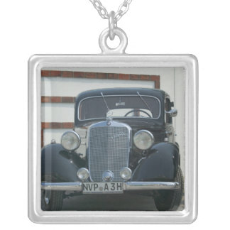 antique mercedes silver plated necklace
