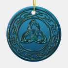 Antique Metal Celtic Trinity Knot In Blue Green Ceramic Ornament