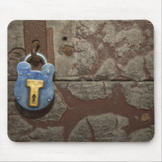 Antique Metal Lock on Stone Wall Mouse Pads