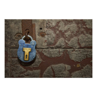 Antique Metal Lock on Stone Wall Poster