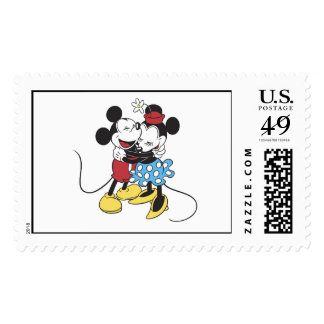 Antique Mickey and Minnie Mouse hugging laughing Stamp