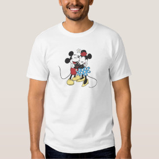Antique Mickey and Minnie Mouse hugging laughing Tee Shirt