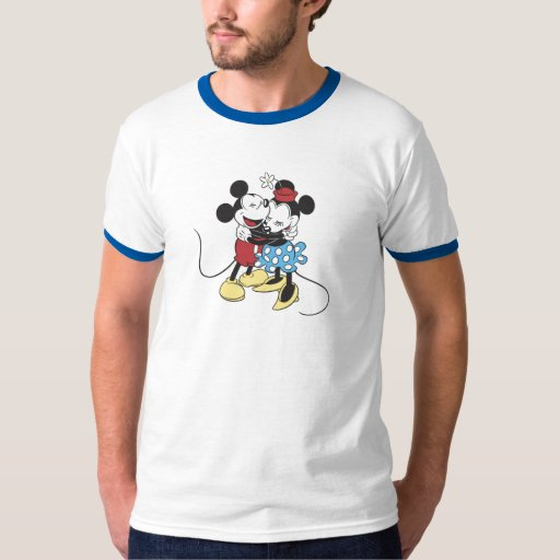 Antique Mickey and Minnie Mouse hugging laughing Tee Shirts