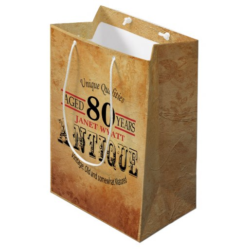 Antique Milestone 80th Birthday Medium Gift Bag