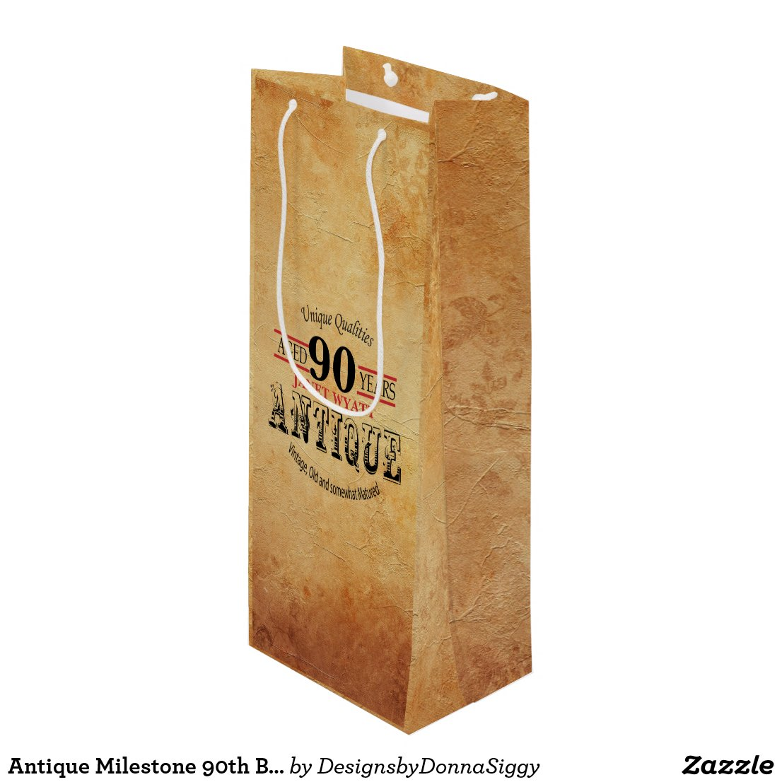Antique Milestone 90th Birthday Wine Gift Bag