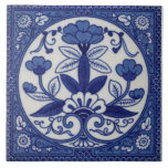 """Antique Minton Hollins Blue Aesthetic Tile Repro<br><div class=""""desc"""">Minton tiles were considered among the finest produced in the late nineteenth and early twentieth centuries. The original of this lovely blue and white tile was created in 1876. It is one of their many Aesthetic style tiles showing the strong influence of Japanese art.</div>"""