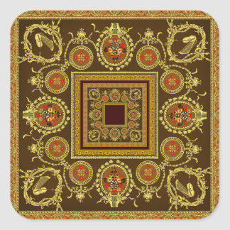 Antique Misic  Pattern Square Sticker