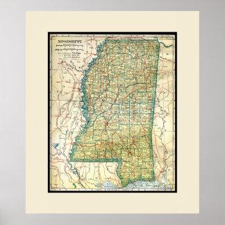 Antique Mississippi Map Poster